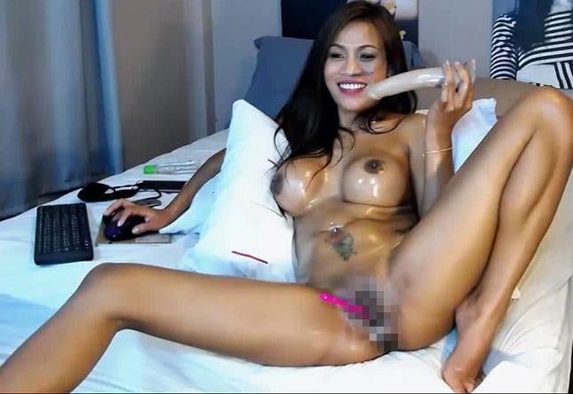 Camgirl beim Live-Sex vor der Webcam