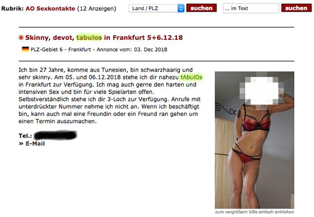 Fickanzeige einer AO Hure in Deutschland