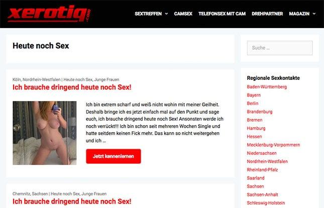 Sexanzeigen von Frauen die heute noch Sex suchen