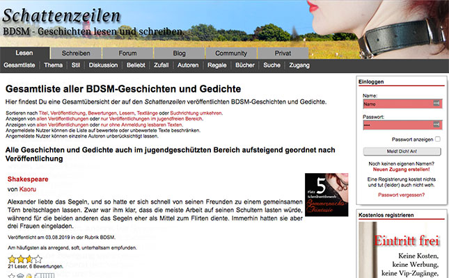Schattenzeilen-BDSM-Geschichten