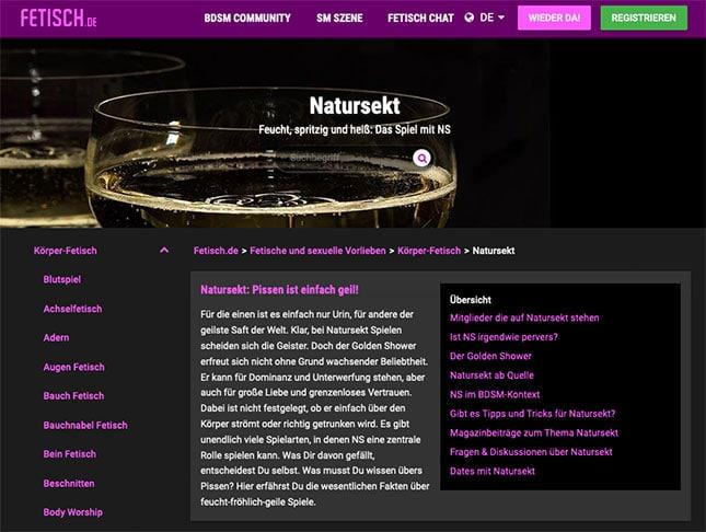 Natursekt-Kontakte auf Fetisch.de finden