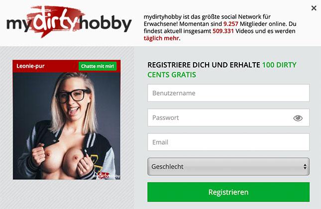 mydirtyhobby-Anmeldung